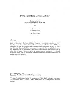 Moral Hazard and Limited Liability - Semantic Scholar