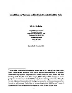Moral Hazard, Warrants and the Cost of Limited Liability ... - CiteSeerX