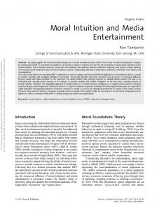 Moral Intuition and Media Entertainment