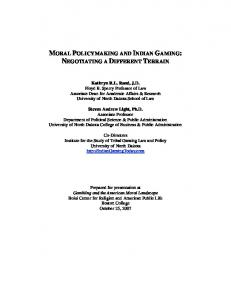 MORAL POLICYMAKING AND INDIAN GAMING ... - Boston College