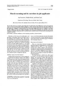 Moral reasoning and its correlates in job applicants