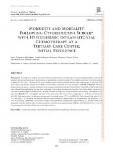 Morbidity and Mortality Following Cytoreductive Surgery ... - Medigraphic