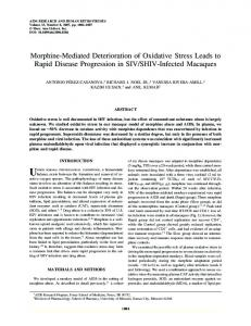 Morphine-Mediated Deterioration of Oxidative Stress ... - CiteSeerX