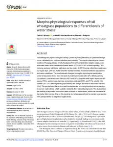 Morpho-physiological responses of tall wheatgrass ... - PLOS