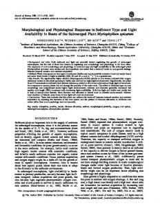Morphological and Physiological Responses to