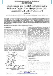 Morphological and Visible Spectrophotometric Analysis of Copper