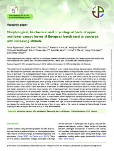 Morphological, biochemical and physiological traits of