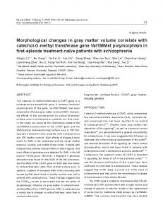 Morphological changes in gray matter volume correlate with catechol ...