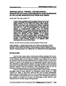 MORPHOLOGICAL, THERMAL, AND MECHANICAL PROPERTIES ...