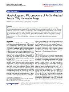 Morphology and Microstructure of As-Synthesized