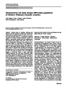 Morphometrics and stable isotopes differentiate ... - Springer Link