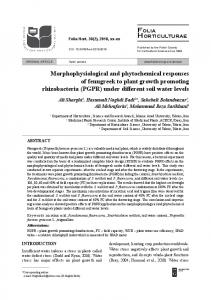 Morphophysiological and phytochemical responses of
