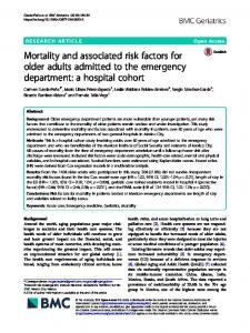 Mortality and associated risk factors for older adults ... - BMC Geriatrics