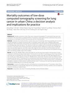 Mortality outcomes of low-dose computed tomography screening for ...