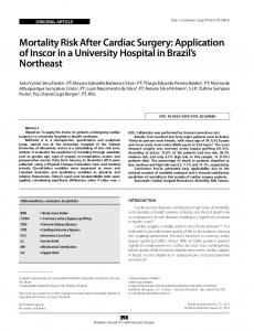Mortality Risk After Cardiac Surgery: Application of Inscor in ... - SciELO