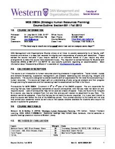 MOS 3383A (Strategic Human Resources Planning) Course Outline ...