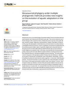 Mosasauroid phylogeny under multiple phylogenetic methods ... - PLOS