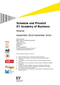 Moscow Schedule - Ernst & Young