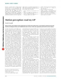 Motion perception: read my LIP - Max Planck Institute for Biological ...
