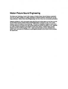 Motion Picture Sound Engineering