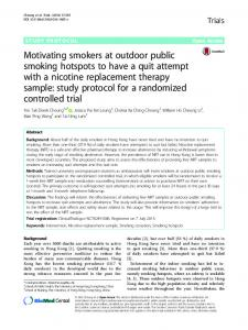 Motivating smokers at outdoor public smoking hotspots to have a quit ...
