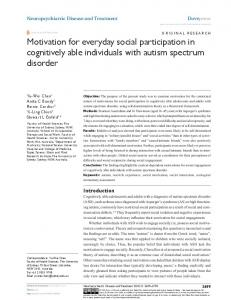 Motivation for everyday social participation in
