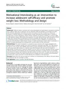 Motivational Interviewing as an intervention to increase adolescent ...