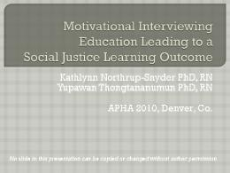 Motivational Interviewing Education Leading to a ...