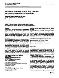 Motives for reporting adverse drug reactions by patient ... - Core