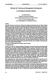 Motives for Training and Management Development in the Nigerian ...