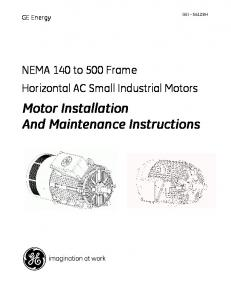 Motor Installation And Maintenance Instructions