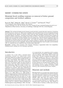 Mountain beech seedling responses to removal of below ... - CiteSeerX