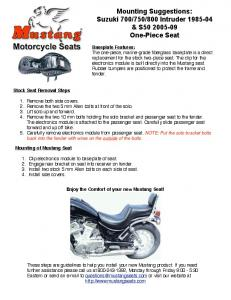 Mounting Suggestions: Suzuki 700/750/800 Intruder 1985-04 & S50 ...