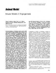 Mouse Model of Angiogenesis - Europe PMC