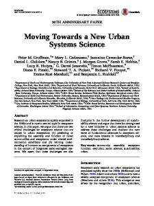 Moving Towards a New Urban Systems Science - Urban Ecology Lab
