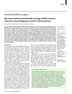 Moving towards universal health coverage: health insurance reforms ...