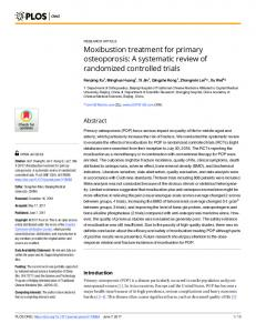 Moxibustion treatment for primary osteoporosis: A