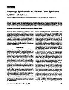 Moyamoya Syndrome in a Child with Down Syndrome - MedIND