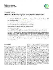 MPPT for Photovoltaic System Using Nonlinear Controller