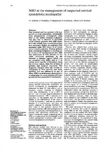 MRI in the management of suspected cervical spondylotic myelopathy ...