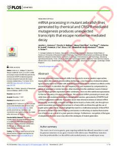 mRNA processing in mutant zebrafish lines generated by ... - PLOS