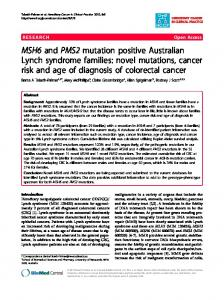 MSH6 and PMS2 mutation positive Australian Lynch syndrome families