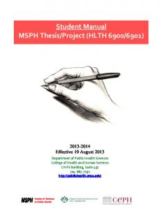 M.S.P.H. Thesis/Project Manual 2013