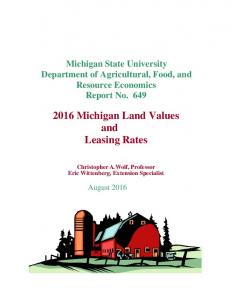 MSU Farm Land Value & Farm Land Rent ... - Michigan State University