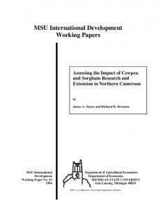 MSU International Development Working Papers - AgEcon Search