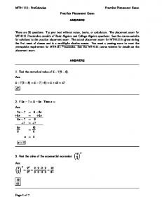 MTH 111: PreCalculus Practice Placement Exam Practice ...