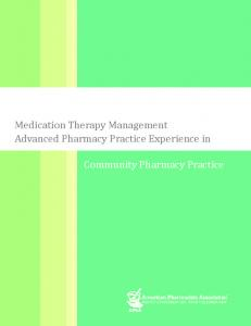 MTM Advanced Pharmacy Practice Experience in Community ...