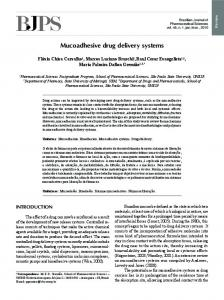 Mucoadhesive drug delivery systems - SciELO