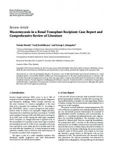 Mucormycosis in a Renal Transplant Recipient: Case Report and ...