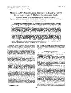Mucosal and Systemic Immune Responses in BALB/c Mice to ...